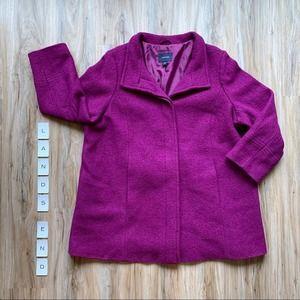 LANDS' END - NWOT Purple Wool Blend Coat Plus 20W
